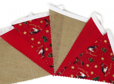 CHRISTMAS BUNTING  Robins, Hessian & Plain Red on White Tape  - 3m - 14 flags (single-sided)